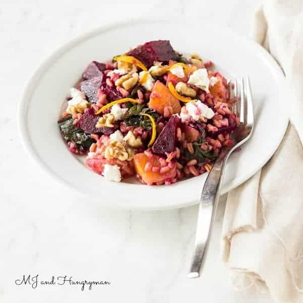 Orange, Beet Green & Farro Salad