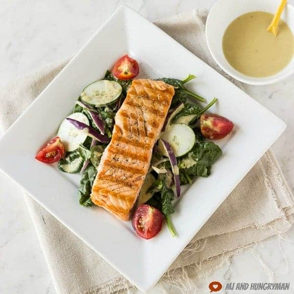 Grilled Salmon Salad w/ Lemon-Tahini Dressing