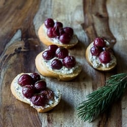 Roasted Grapes Hazelnut Goat Cheese Crostini