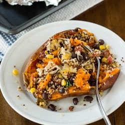 Loaded Southwestern Quinoa Sweetpotatoes