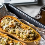 Roasted Butternut Squash with Turkey Stuffing