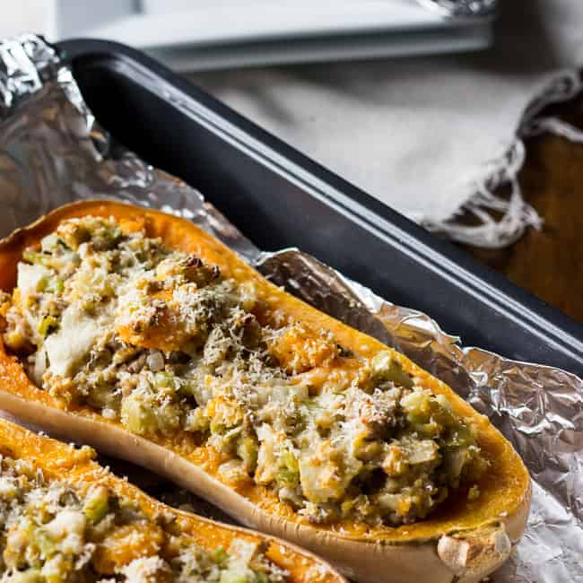 Roasted Butternut Squash with Turkey StuffingMJ and Hungryman