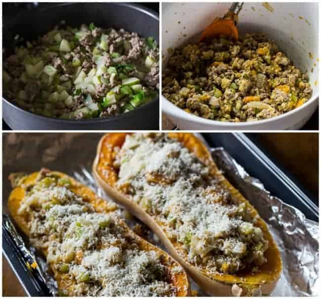 Roasted Butternut Squash with Turkey Stuffing - The Adventures of MJ ...