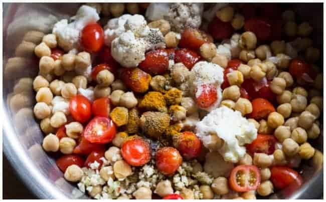 Roasted Cauliflower, Tomatoes, Chickpeas w Indian Spices2