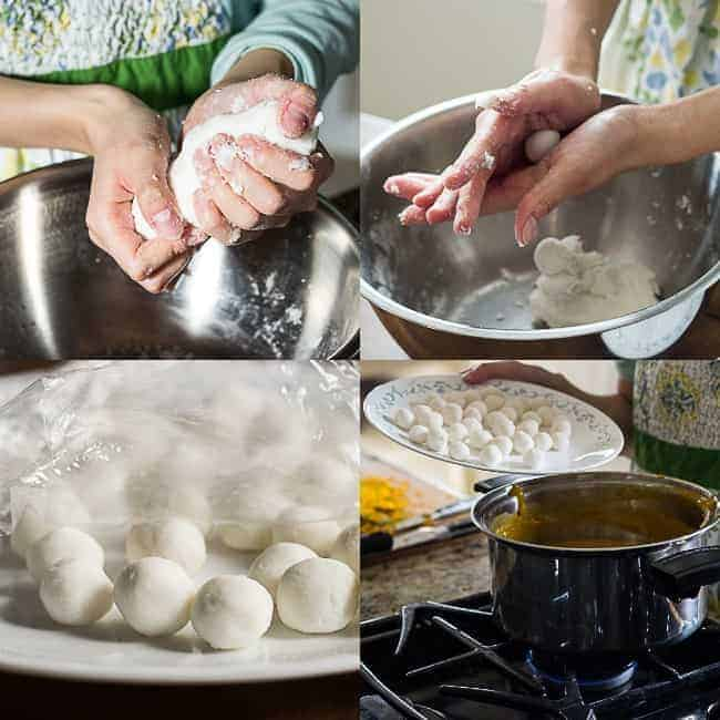 A collage showing how to make the rice balls