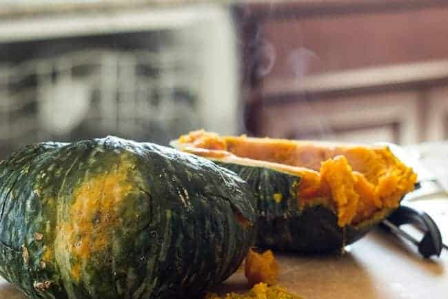 sliced cooked kabocha with steam coming out