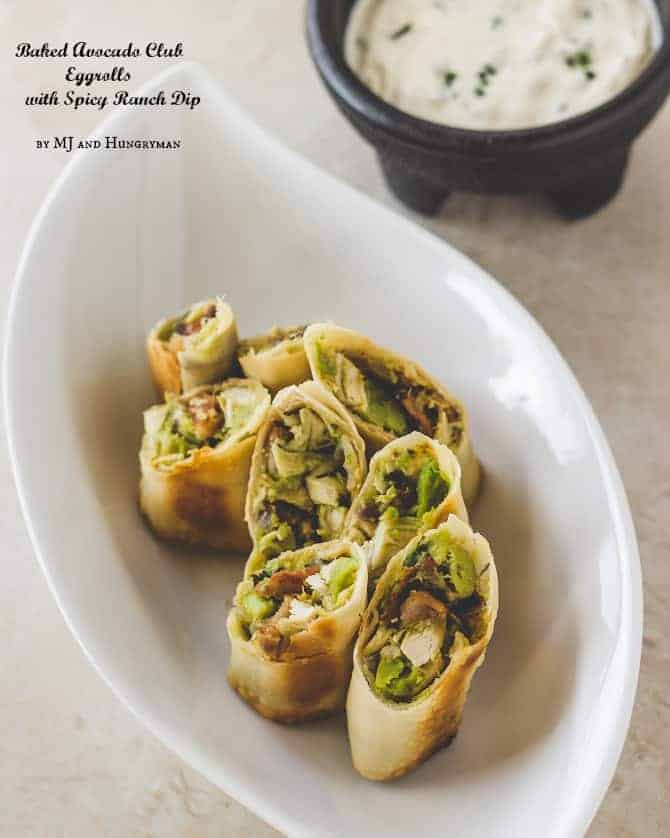 Baked Avocado Eggrolls with Spicy Ranch Dip