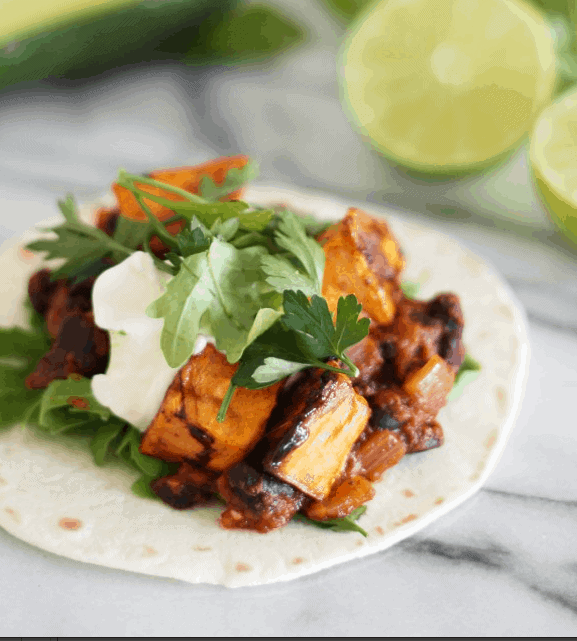 Maple Chili Roast Sweet Potato and Black Bean  Tacos