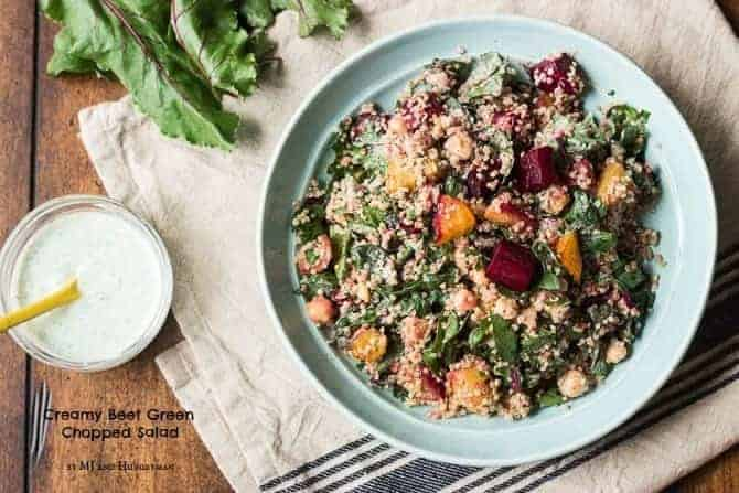 Creamy Beet Green Chopped Salad