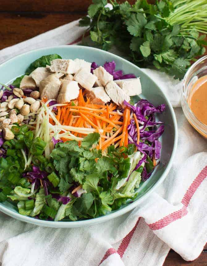 Asian Chopped Salad with Spicy Peanut Dressing - MJ and ...