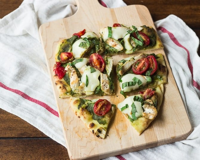 Chicken Pesto Naan Pizza