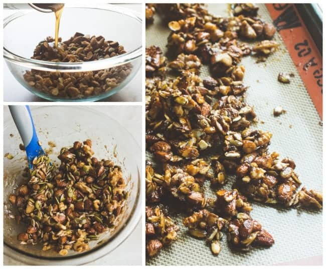 Mexican Oat Pudding with Spicy Nut Clusters