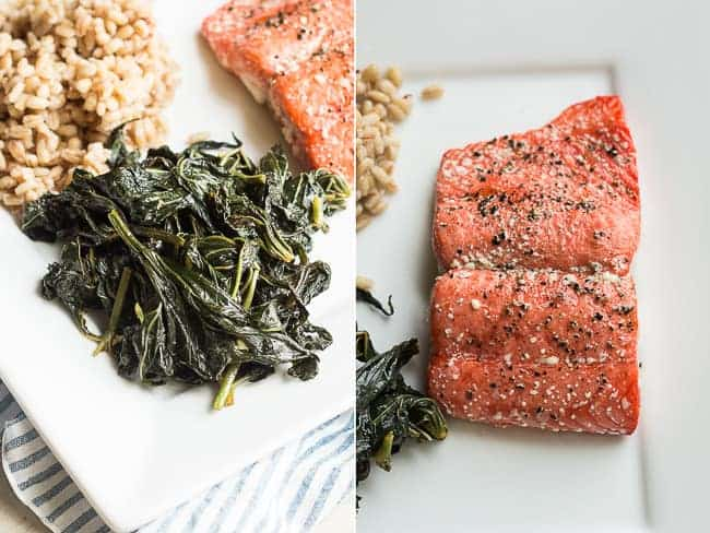 Sweet Potato Greens with Grilled Salmon