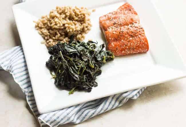 Zesty Sweet Potato Greens with Grilled Salmon