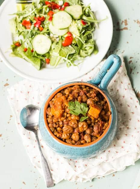 Slow Cooker Chickpea and Lentil Chili
