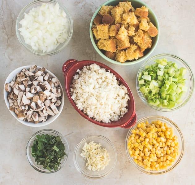 Vegetarian Cauliflower Cornbread Dressing with Mushrooms-2