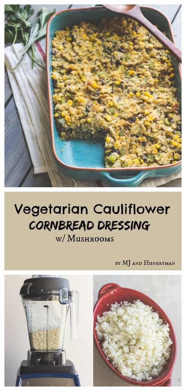Vegetarian Cauliflower Cornbread Dressing with Mushrooms