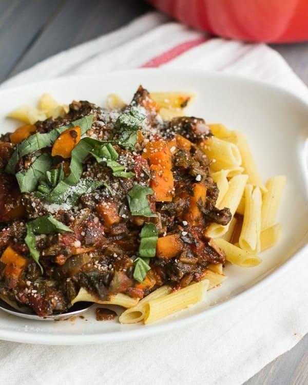 Mushroom Bolognese with Sweet Potatoes