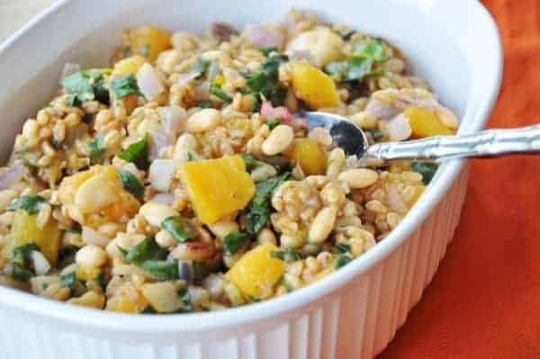 Farro with butternut squash & rainbow chard