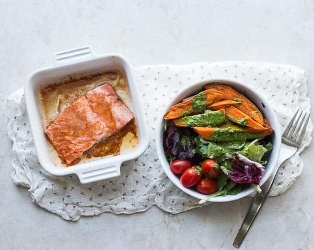 Salmon + salad with cilantro dressing