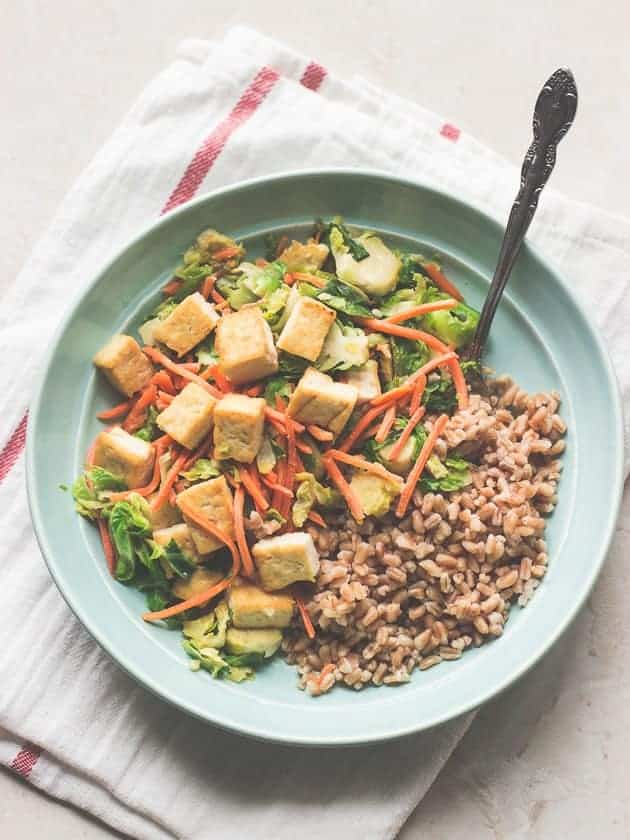 Tofu and Brussels Sprouts in Miso Sauce with Farro-2