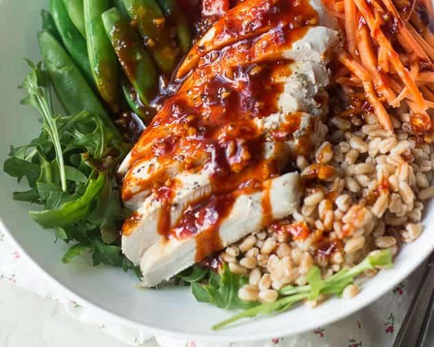 Spicy Korean Farro Nourish Bowl with Gochujang Sauce