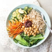 Vegan Korean Nourish bowl with barley (bibimbap)-4