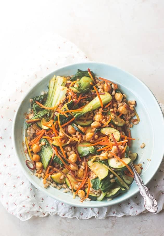 Vegan Korean Nourish bowl with barley (bibimbap)-5
