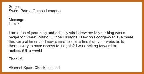 sweet potato quinoa lasagna