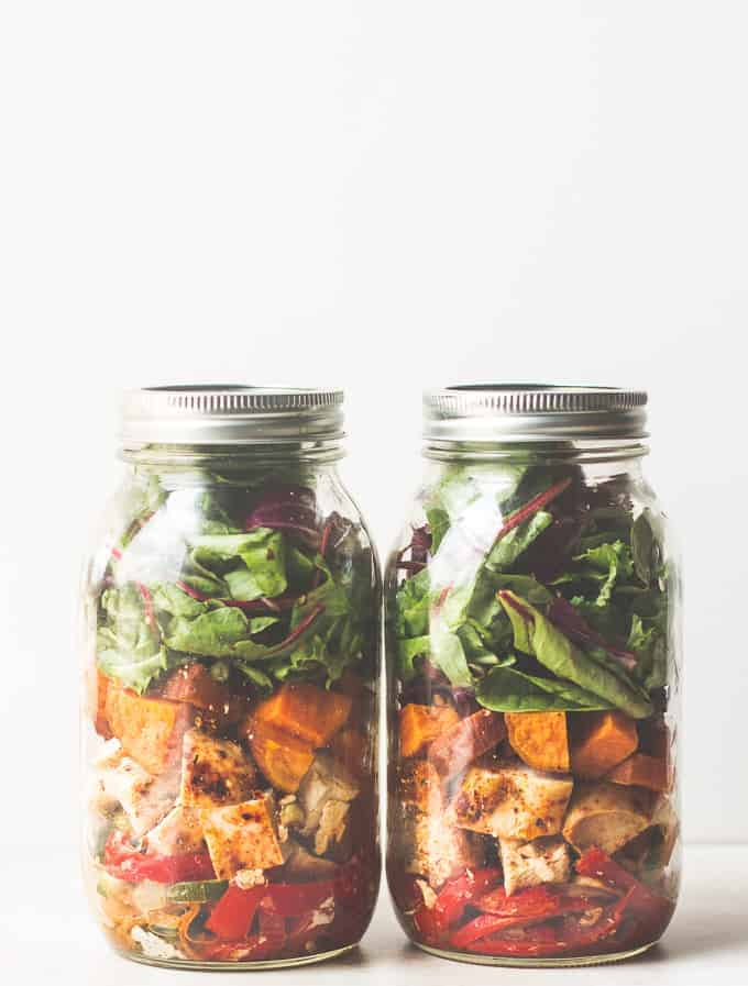 Southwestern Chicken Fajita Mason Jar Salad - The Adventures of MJ and ...
