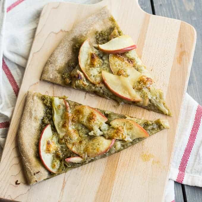 Caramelized Apple and Onion Pesto Pizza