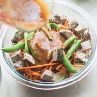 Crunchy Asian Soba Noodles w/ Spicy Almond Butter Sauce