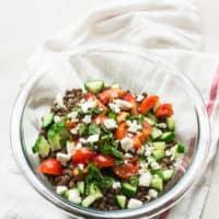 Mediterranean Lentil Salad with Grape-Mint Vinaigrette