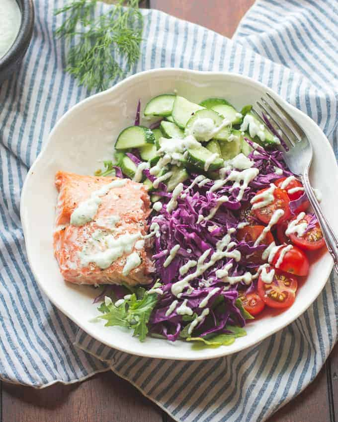 Greek Salmon Salad with Tzatziki Sauce