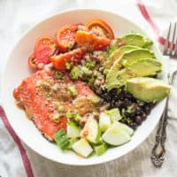 Salmon Barley Bowl with Chipotle Miso Sauce