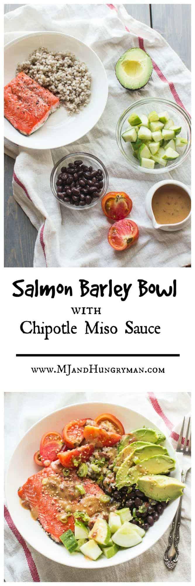 Salmon Barley Bowl with Chipotle Miso Sauce