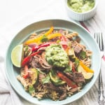 Steak Fajita Pasta with Creamy Avocado Sauce