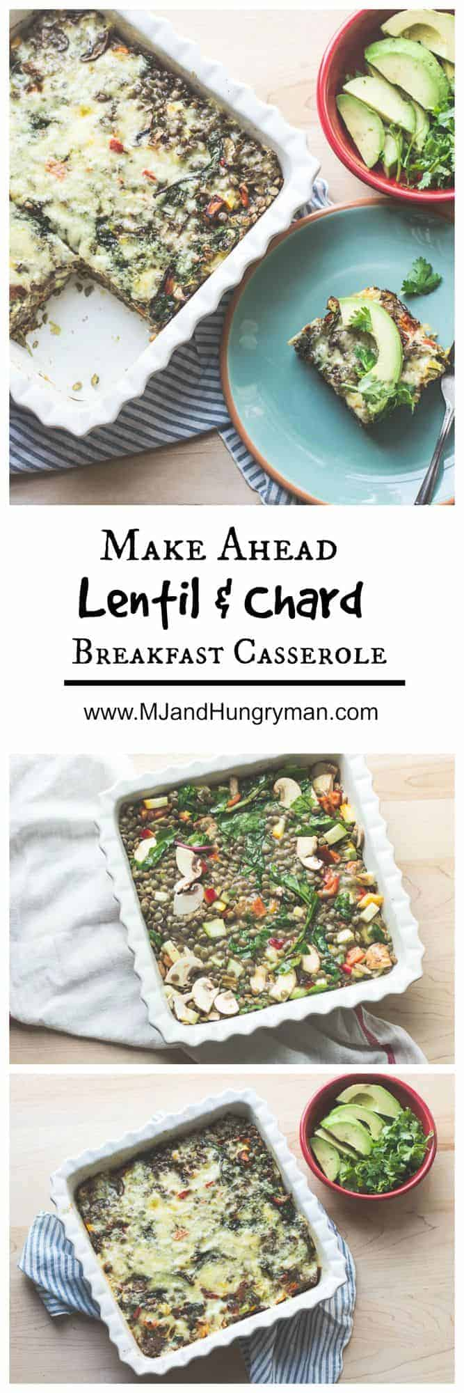 Make Ahead Mexican lentil and chard breakfast casserole