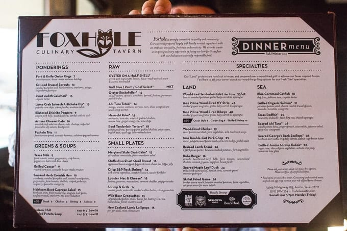 North Austin Restaurant Foxhole Tavern Dinner Menu