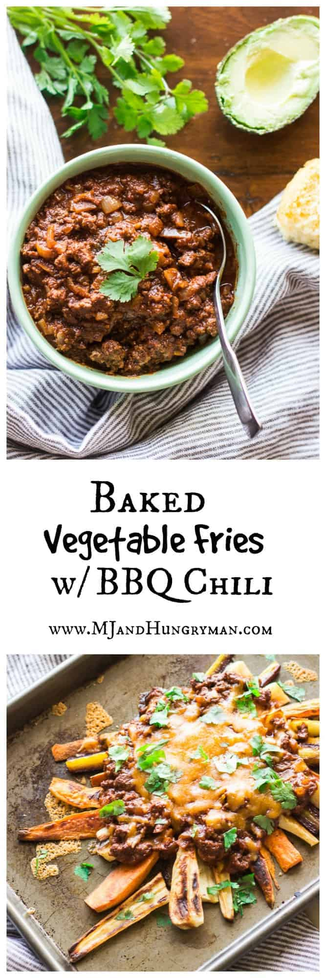Baked Vegetable Fries with BBQ Beef Chili