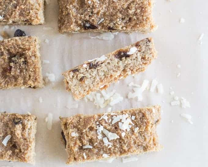Baked Almond and Coconut Oat Bars - baby led weaning