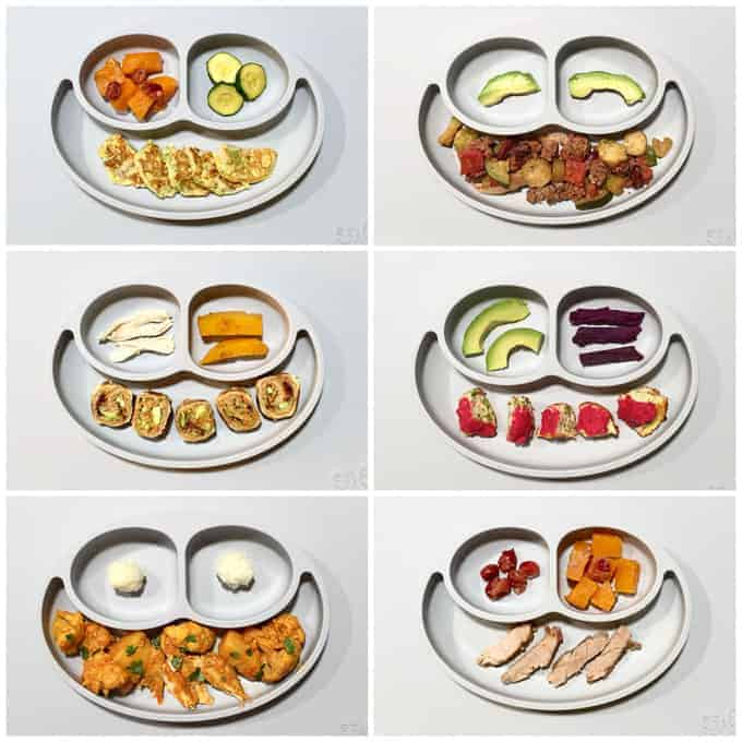 a 6 image collage with grey sections plates of baby food served in bite sized pieces for baby led weaning