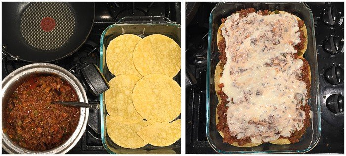 two image collage with corn tortilla spread out on glass baking dish on left and the moussaka all layered on the right
