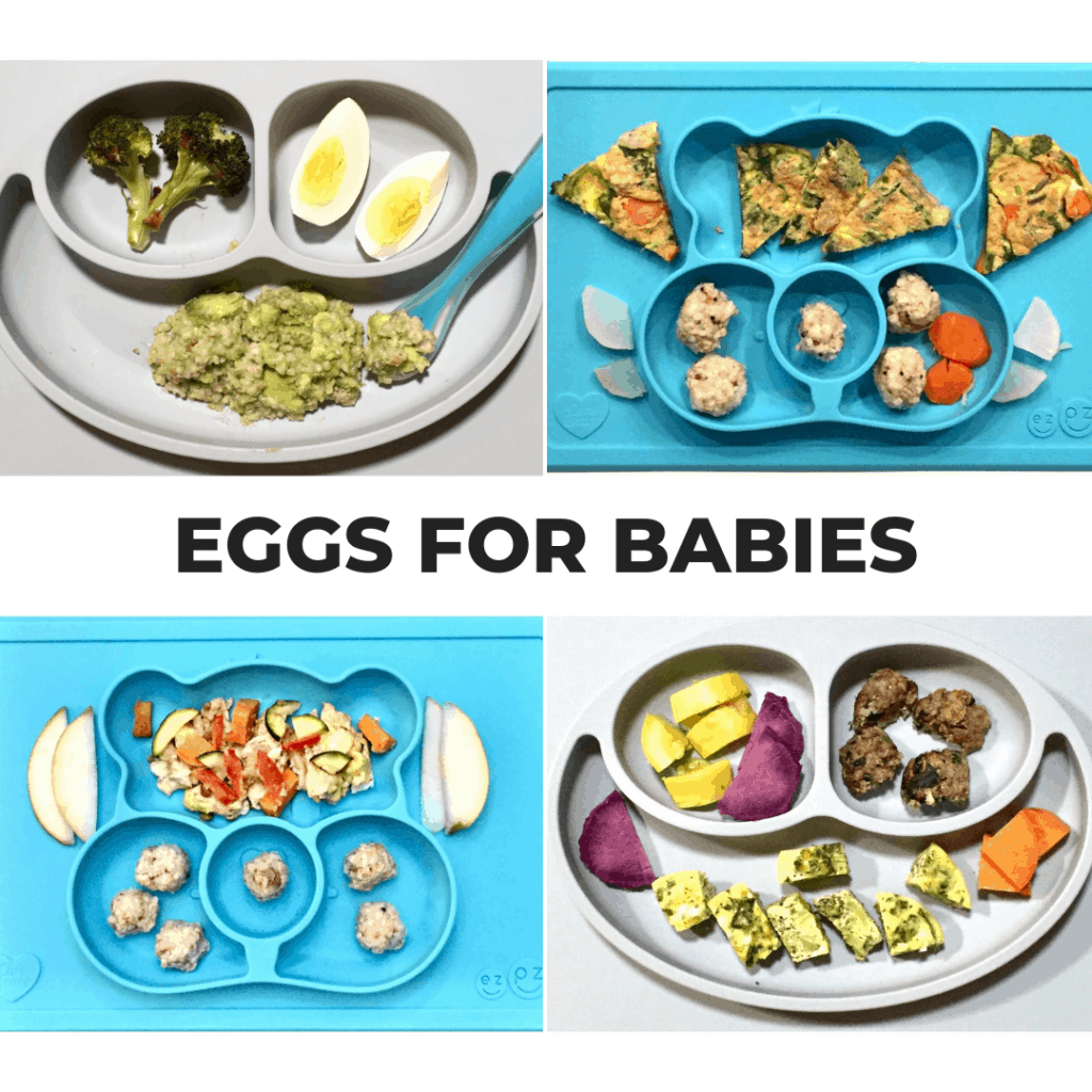 four baby plates showing different ways to serve eggs for babies