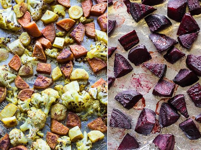 roasted cauliflower and sweet potatoes on the left and beets on the right
