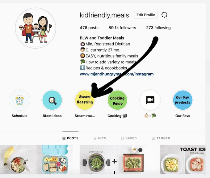 a screenshot of KidFriendly.meals Instagram profile with arrow to steam roasting in the story highlights