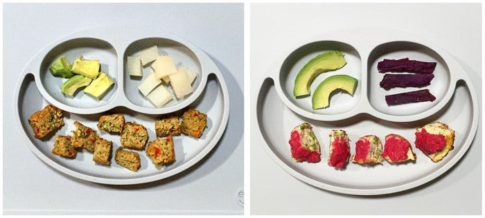 2 grey divided baby plates side by side with bite-sized muffins, avocado and daikon on the left and bite-sized muffins topped with beet hummus, avocado, sweet potatoes on the right