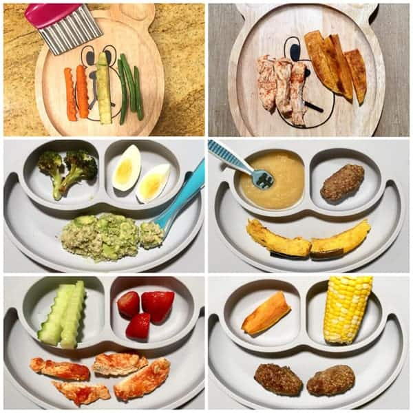 six image collage with plates showing finger shaped foods for six to eight month old baby