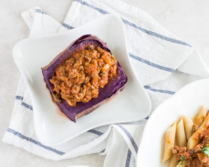 meat sauce over baked sweet potatoes