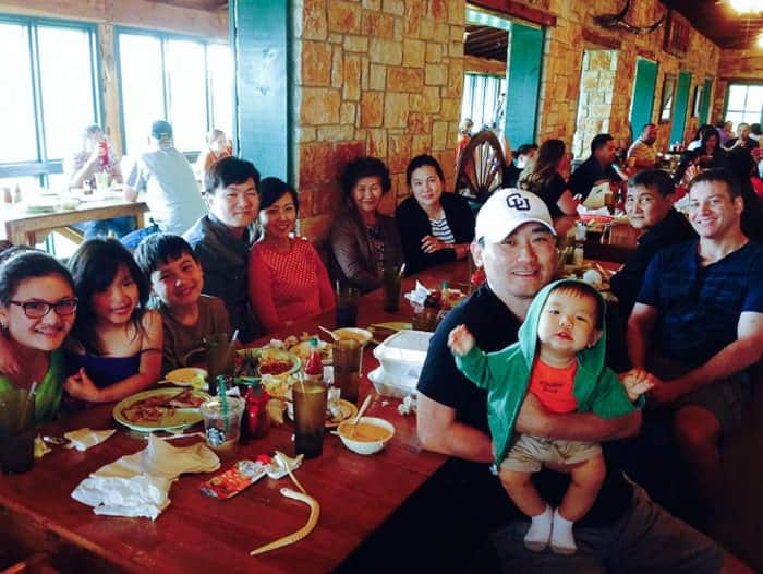 my large family together at a bbq joint